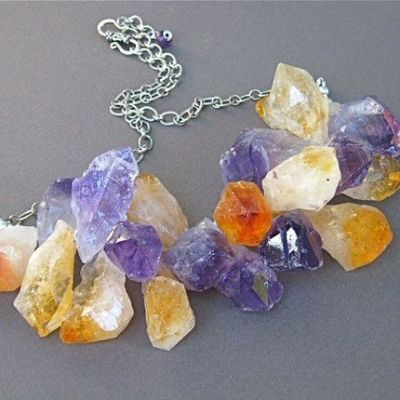 Artist Inspired: Amethyst/Citrine Rough Cut Necklace by mcstoneworks