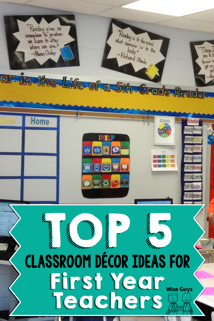 The first year of teaching is a challenge. One of the biggest obstacles you will face is finding ways to create an inviting classroom on a fixed budget. Eric and I hope to offer you some tips that will save you both time and money with these top five decorating tips for the classroom!