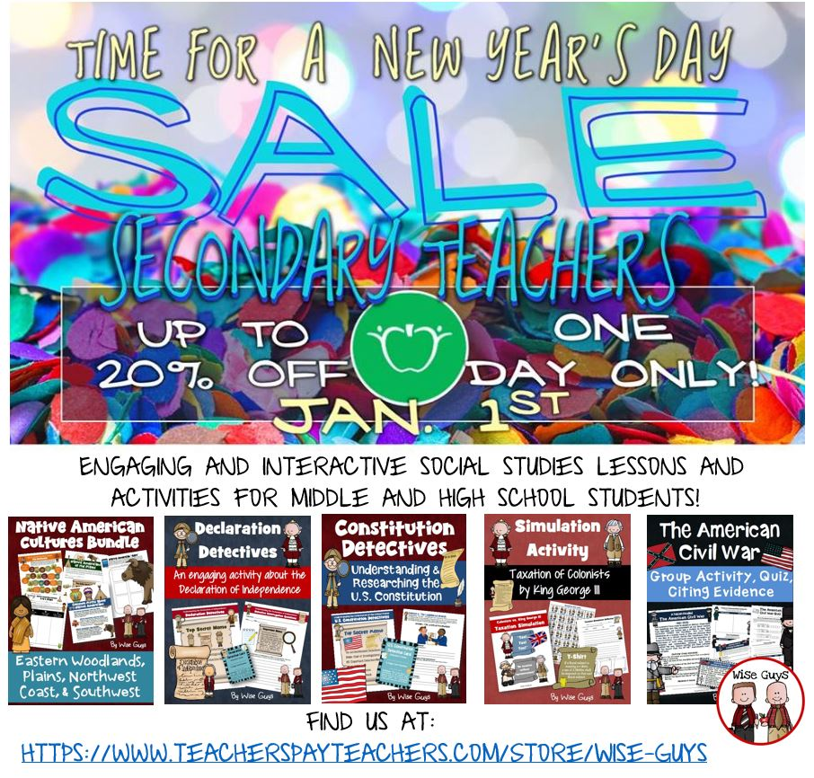 We are having a one day Secondary Social Studies Super Sale! You can save 20% off all of our resources on New Year's Day!