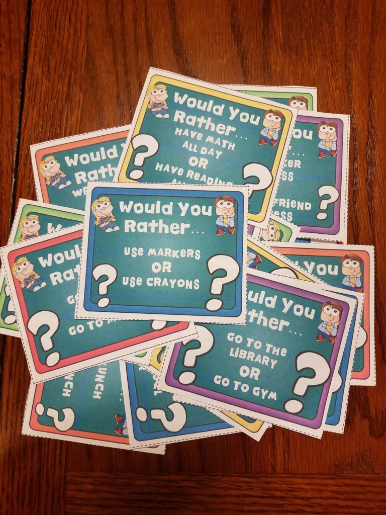 """Student engagement task cards are a great way to get your students energized and working together. These """"Would You Rather"""" challenges are sure to engage your students."""