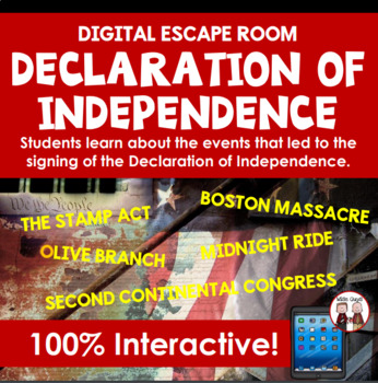 Events to Declaration of Independence Digital Escape Room ...