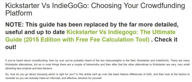 Indiegogo vs  Kickstarter – how to choose – INDIE ADVOCATES