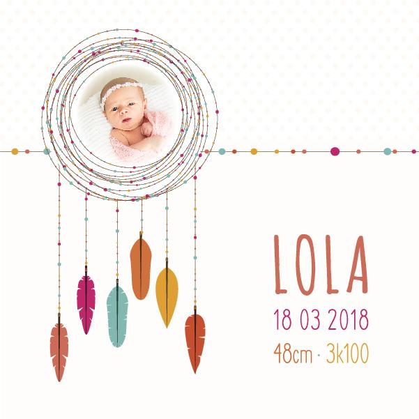 Création faire-part de naissance fille – plumes colorées – personnalisable
