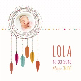 Faire part naissance fille - plumes colorees personnalisable - cecile spadotto creatrice graphique - faire part en ligne