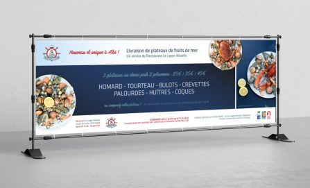 création bache banderole restaurant sur-mesure - énévie - cecile spadotto creatrice graphique Graphiste Tarn - Webdesigner Tarn