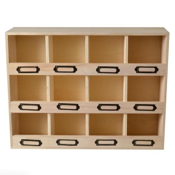 meuble casier en bois brut 12 emplacements 47 x 11 x 31 5 cm