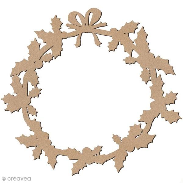 forme en bois a decorer couronne de houx 34 cm