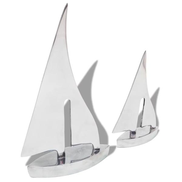 vidaxl decoration de bateau a voile 2 pieces aluminium argente