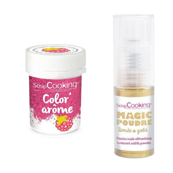 colorant alimentaire rose arome framboise poudre alimentaire irisee doree