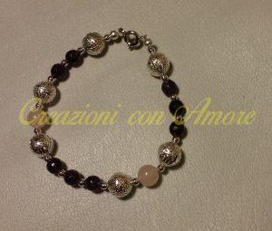 bracciale pietra dura viola e rosa