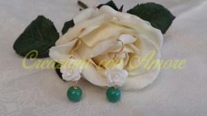 Orecchini rosa bianco e verde acqua