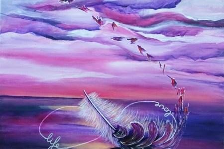 acryl schilderij feather