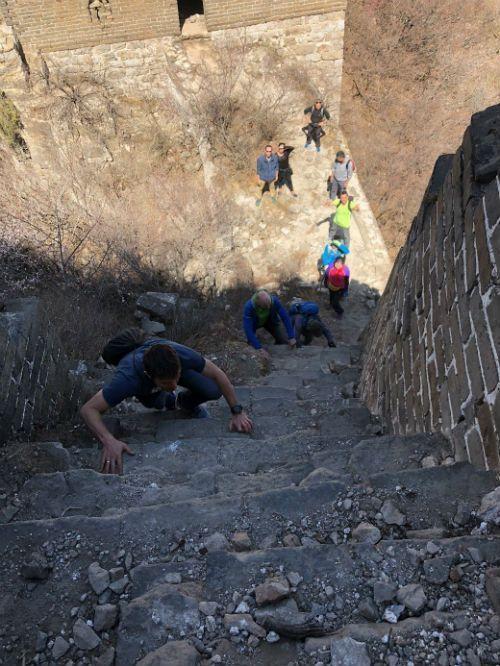 escalando en la muralla china