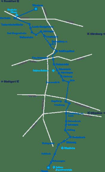 mapa ruta romántica alemana
