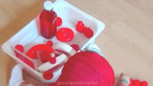 Bandeja sensorial color rojo