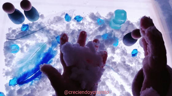minimundo nieve casera mesa luz