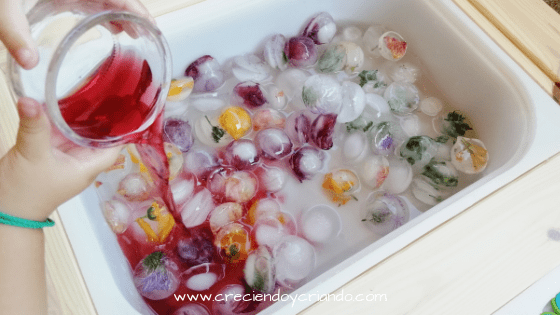 Juego sensorial con hielo y agua