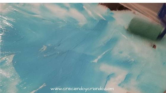 Los colores se iba mezclando y se iba formando un cielo azul, o por qué no, un manto de nieve…