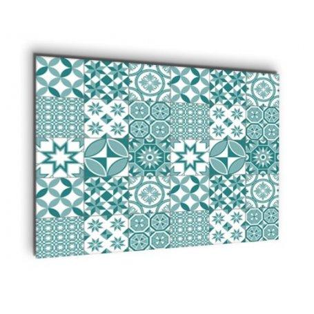 credence de cuisine carreaux de ciment motif geometrique bleu vert