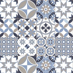 fond de hotte carreaux de ciment motif geometrique bleu taupe