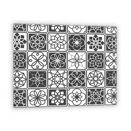 credence de cuisine carreaux ciment noir et blanc