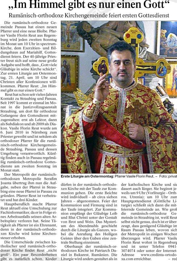"""Passauer Neue Presse: """"Pfarrer Vasile Florin Reut: Im Himmel gibt es nur einen Gott!"""" * www.credinta-ortodoxa.com"""