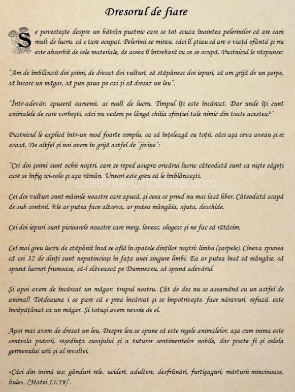 Dresorul de fiare * www.credinta-ortodoxa.com