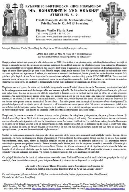 Mesajul Părintelui Vasile Florin Reuţ, la sfârşit de an 2016