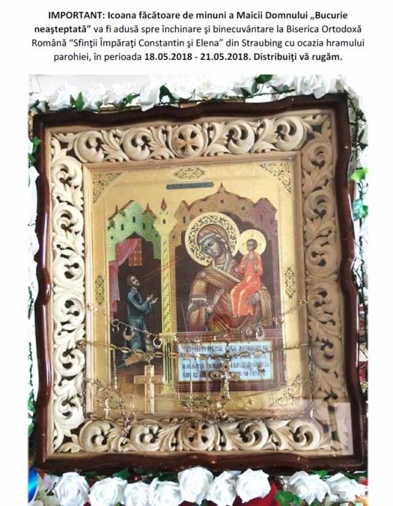 """""""Bucurie neaşteptată"""" pentru credincioşi: Icoana făcătoare de minuni a Maicii Domnului adusă la hramul Bisericii Ortodoxe Române din Straubing"""