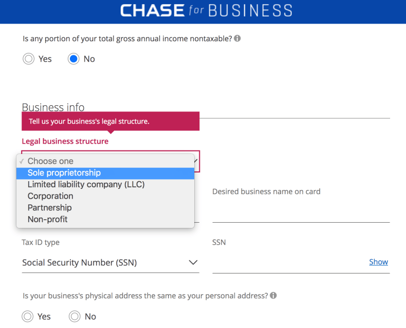 Chase Ink Preferred Application