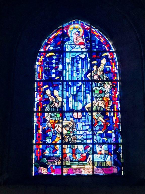 Stained glass window in Sainte-Mère-Église