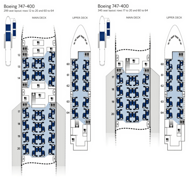 British Airways 747 Business Class Seat Map