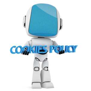 41071235 - cookies law concept. a robot is holding a 3d cookies policy sentence isolated on white background.