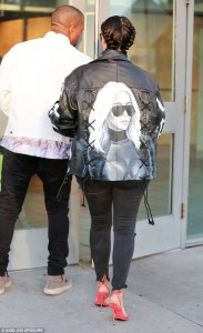 Kim Kardashian Rocks her Custom Leather Jacket as she Heads to the Movies with Kanye West