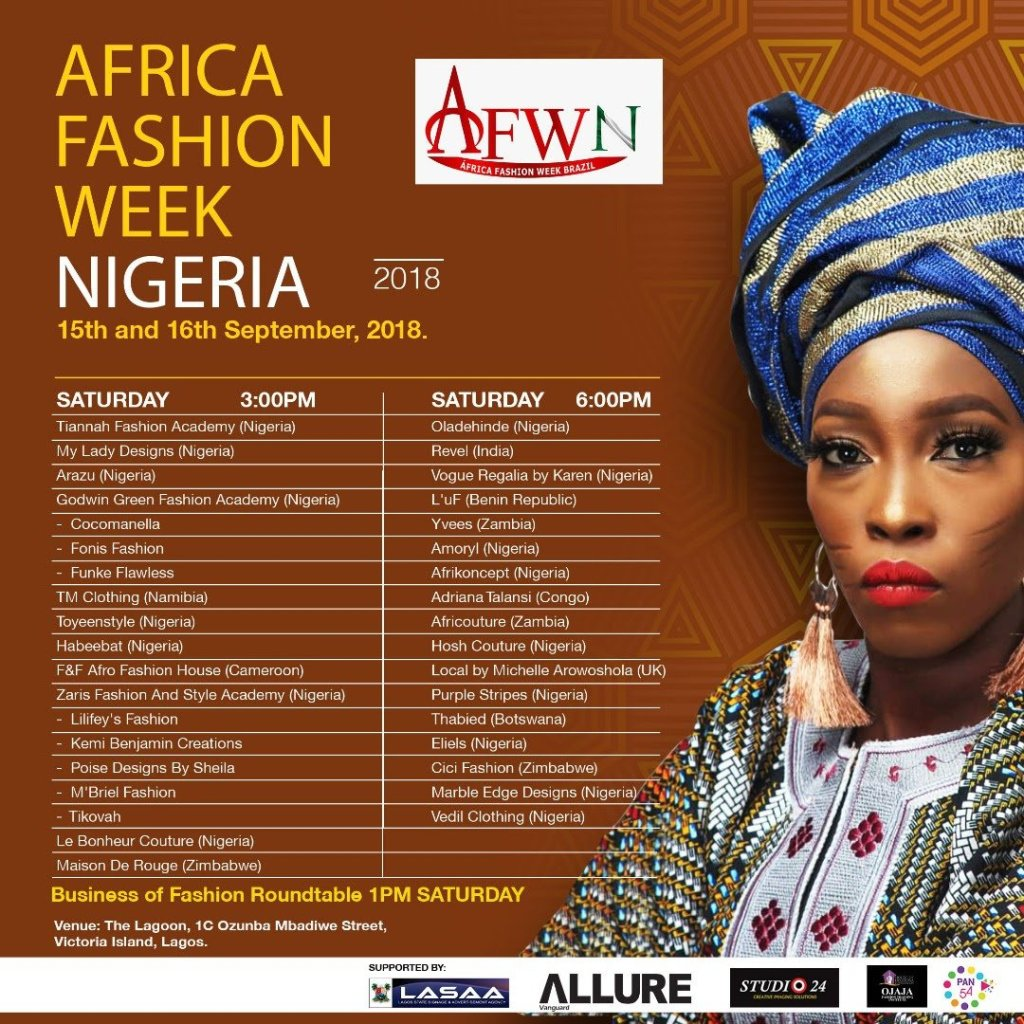 Africa Fashion Week Nigeria 2018 Saturday 15th September 2018, The Lagoon