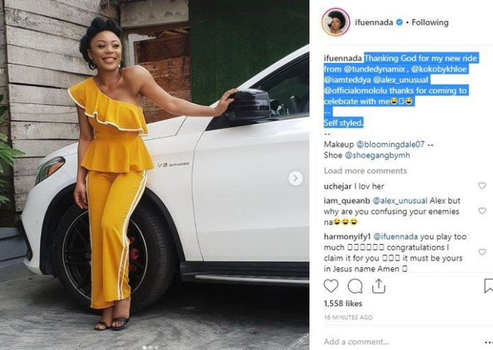 BBN - Ifu Ennada Shows Off New Car She Just Bought
