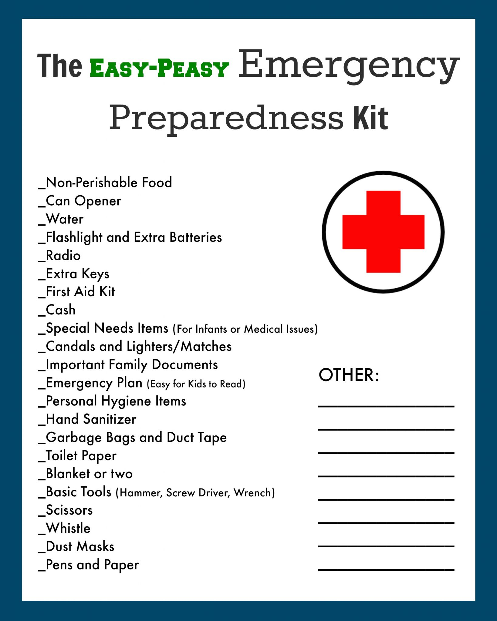 Emergency Disaster Evacuation Kit Checklist