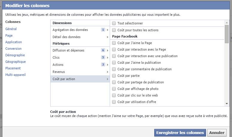 Coût par action des actions dans le Rapport de publicités Facebook