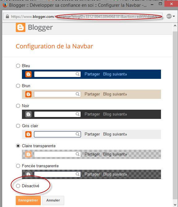Désactiver la barre de navigation Blogger