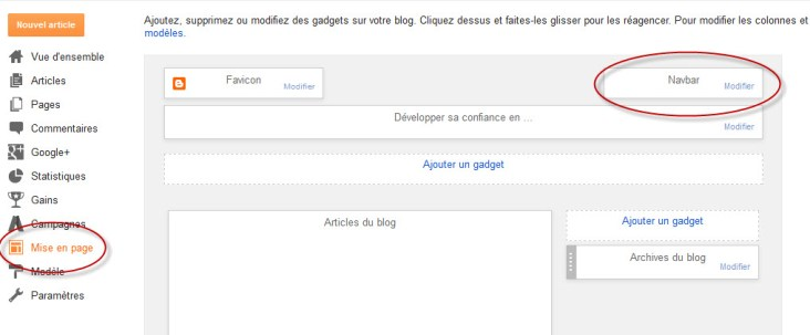 Supprimer le widget barre de navigation Blogger