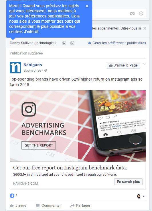 Explications de Facebook concernant ses questions sur vos préférences publicitaires