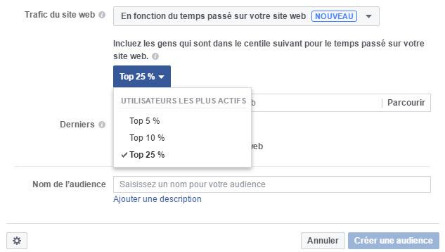 Audience personnalisée Facebook en fonciton du temps passé sur votre site web