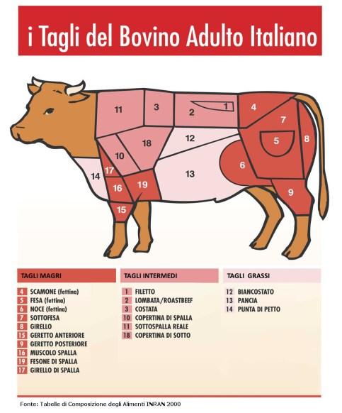 Image result for tagli del bovino