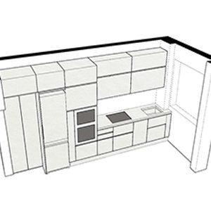 Cucina con spalla partenza 29 cm tra porta-finestra