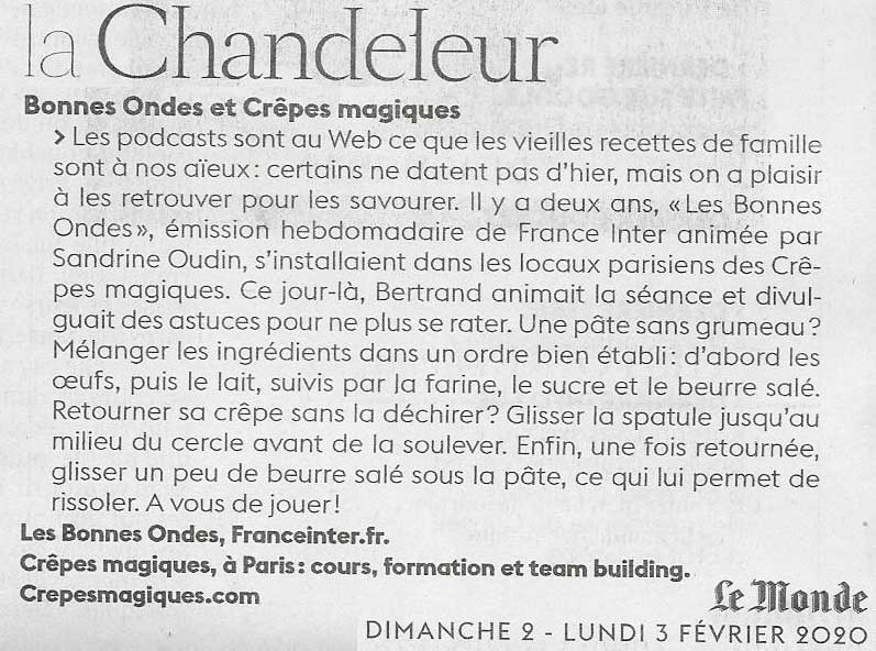 Article journal le Monde sur la Chandeleur