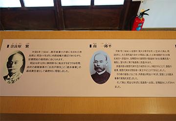 ↑展示パネル 安積開拓ゆかりの人びと 奈良原 繁(ならはらしげる) 南 一郎平(みなみいちろべい)。