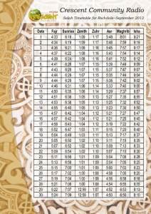 September-Timetable