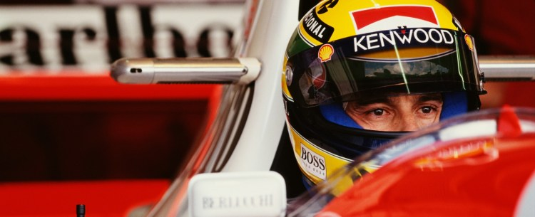 Ayrton Senna of Brazil sits aboard the #8 Marlboro McLaren McLaren MP4/8 Ford HBE7 V10 during the Fuji Television Japanese Grand Prix on 23rd October 1993 at the Suzuka Circuit in Suzuka City, Japan. (Photo by Pascal Rondeau/Getty Images)
