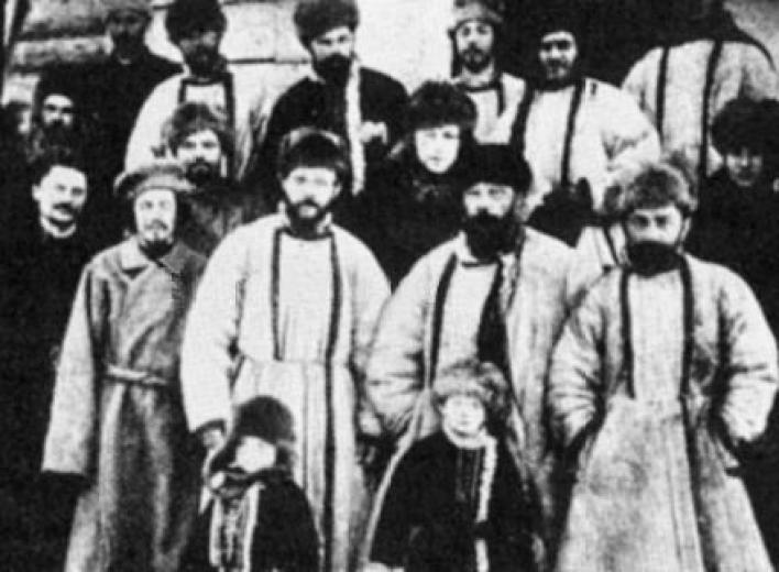 Members of the St. Petersburg Soviet, including Leon Trotsky (front row, second from left) are photographed prior to be sent to Siberia in exile in 1905.
