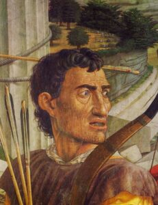 Archer. Detail from Mantegna, St. Sebastian. Louvre. ca. 1475.